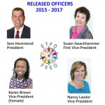 Released Officers - Sam Hamond, President; Susan Swackhammer, First VP; Karen Brown, VP (Female); Nancy Lawler, VP
