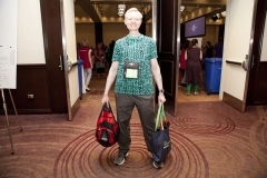 A delegate arriving at Annual Meeting