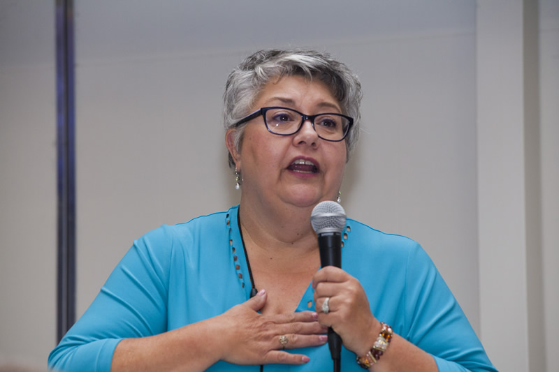Diane Dewing, re-elected as OTF Table Officer, thanks her supporters